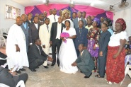 VICTOR & JENNIFER UYANWANNE WITH PASTORS AND DEACONESSES PRESENT AT THE WEDDING