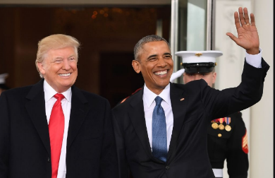 Barack Obama (right) pictured with Donald Trump at the White House in Washington, DC on January 20, 2017 -AFP Photo-JIM WATSON