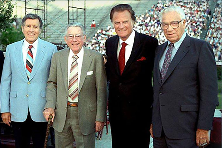 The ministry team of Billy Graham: Cliff Barrows, Grady Wilson, Billy Graham and George Beverly Shea